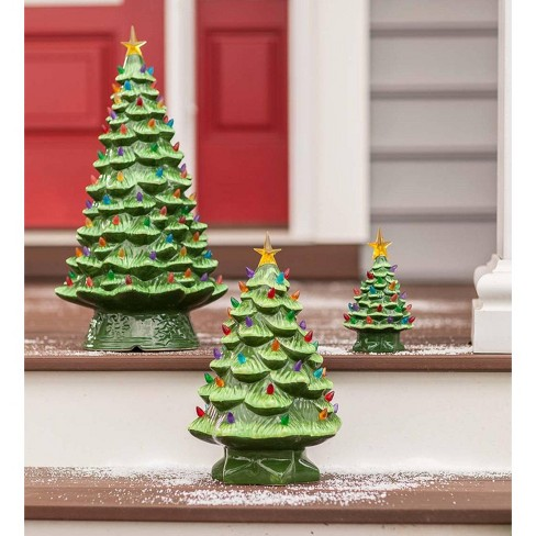 7 Indoor Outdoor Battery Operated Lighted Ceramic Christmas Tree Green Plow Hearth