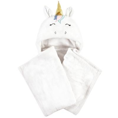 Hudson Baby Infant Girl and Toddler Hooded Animal Face Plush Blanket, Multicolor Unicorn, One Size