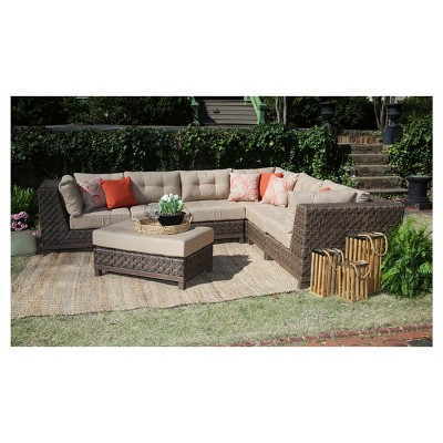 Dawson 7pc All Weather Wicker Patio Sectional Seating Set   Tan   AE  Outdoor : Target