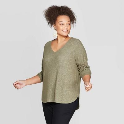 Women's Plus Size Long Sleeve V Neck Cozy Top   Ava & Viv™ by Ava & Viv