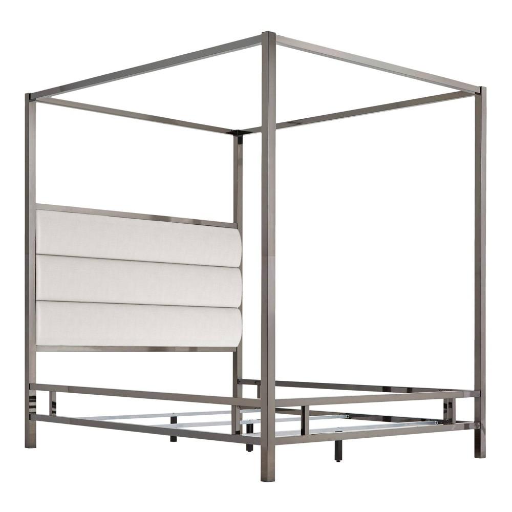 Full Manhattan Black Nickel Canopy Bed with Horizontal Panel Headboard White - Inspire Q