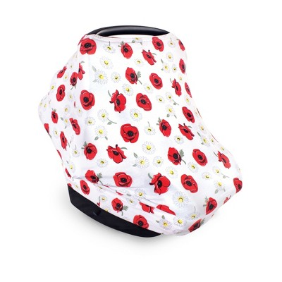 Hudson Baby Infant Girl Multi-use Car Seat Canopy, Poppy Daisy, One Size