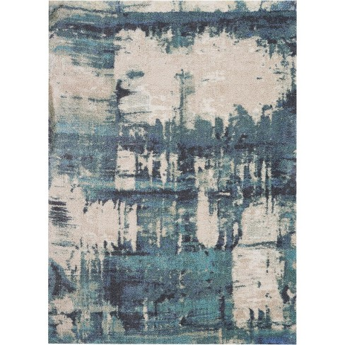 Nourison Abstract Shag Abs01 Blue