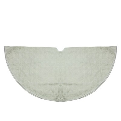 """Northlight 48"""" White Quilted Christmas Hexagon Tree Skirt with Velvety Trim"""