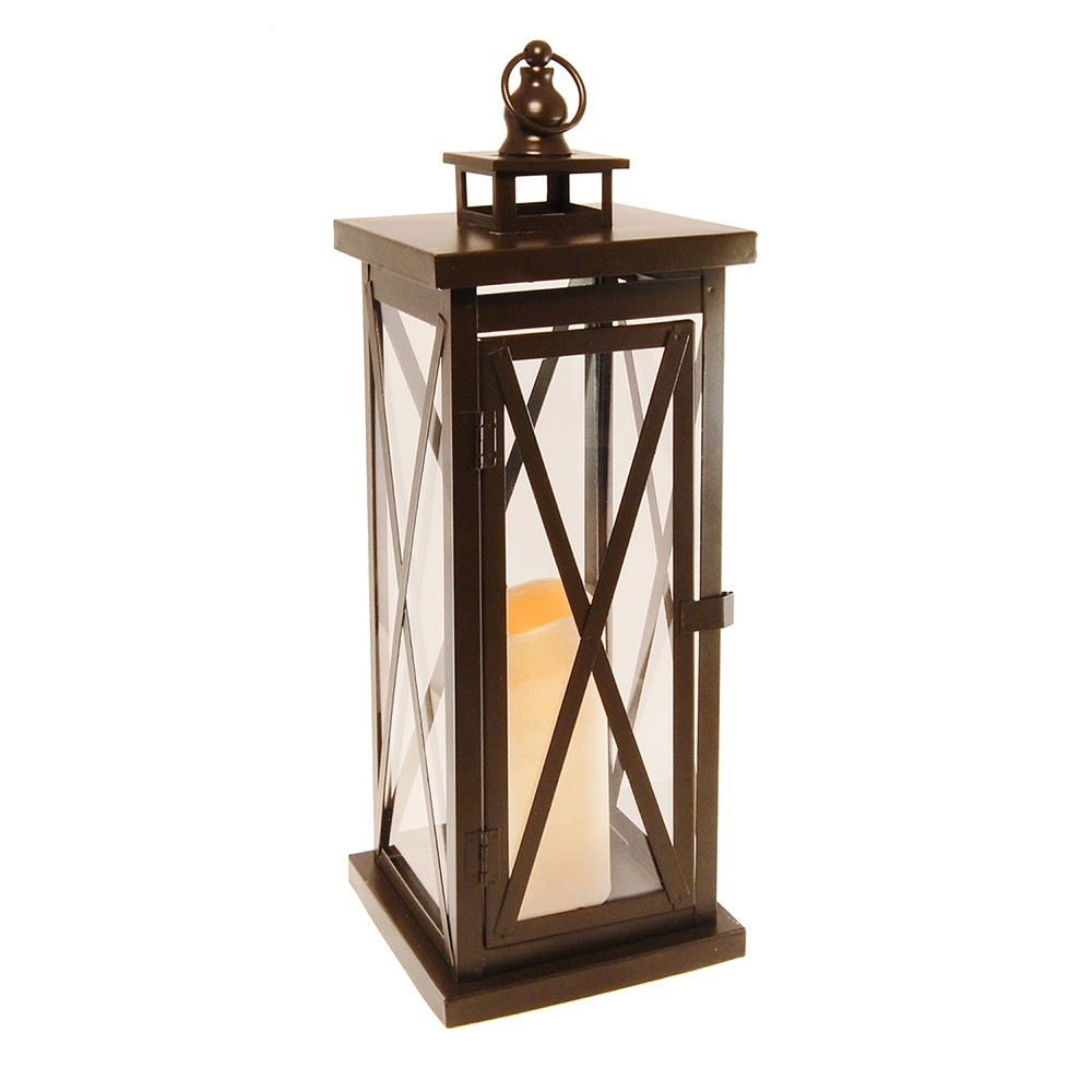 Image of Criss Cross Metal LED Lantern With Battery Operated Candle Brown - LumaBase
