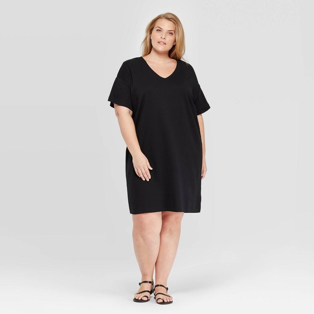 15026ef8c493f Womens Plus Size Short Sleeve V Neck T Shirt Midi Dress Prologue Black X