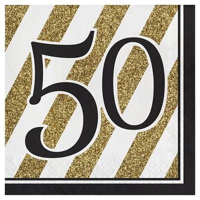 16ct Black & Gold 50th Birthday Napkins