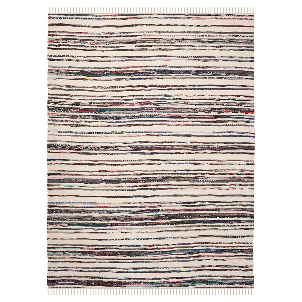 Ivory/Charcoal Stripes Woven Accent Rug - (3'x5') - Safavieh, Ivory/Grey