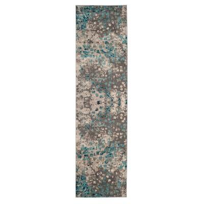 Gray/Light Blue Splatter Loomed Runner 2'2 X10' - Safavieh