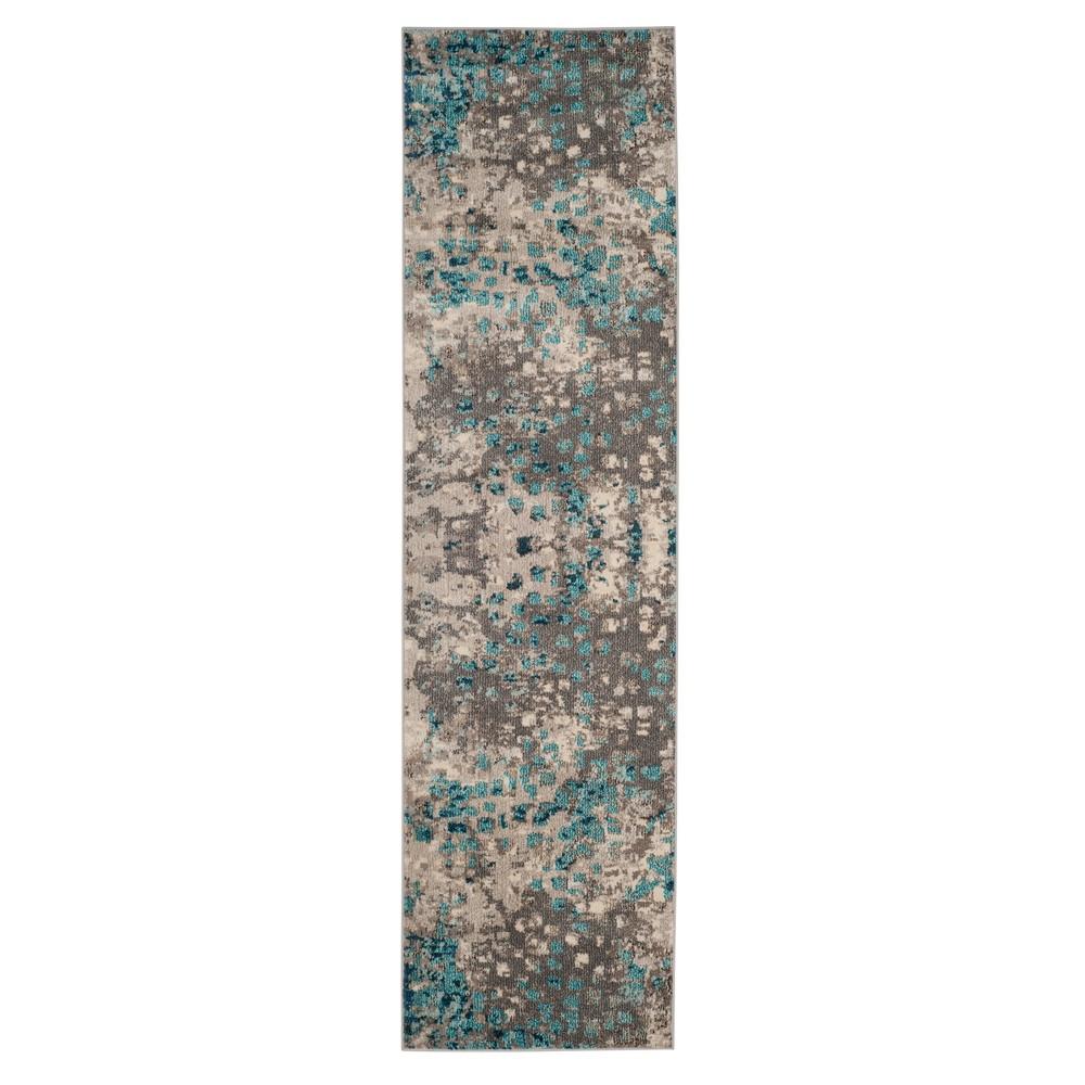 Gray Light Blue Splatter Loomed Runner 2 2 X8 Safavieh