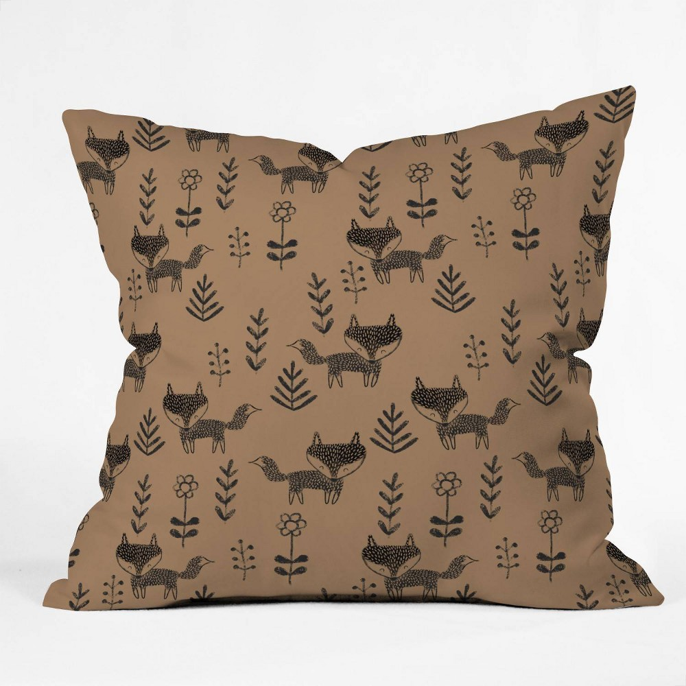 Dash And Ash Friendly Fox Square Throw Pillow Brown - Deny Designs Coupons
