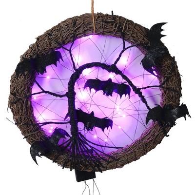 "Northlight 15"" LED Lighted Rattan with Bats Halloween Wreath - Purple Lights"