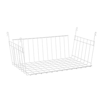 ClosetMaid 17 Inch Wide Hanging Basket Wire Shelving Accessory for Closet Shelves, Pantry Organizer, Kitchen, and Bathroom Storage, White