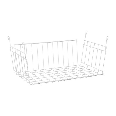 ClosetMaid 17 Inch Wide Hanging Basket Wire Shelving Accessory for Closet Shelves, Pantry Organizer, Kitchen, and Bathroom Storage, White - image 1 of 4