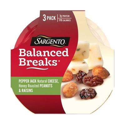 Sargento Balanced Breaks Pepper Jack Cheese, Honey Roasted Peanuts & Raisins - 3pk/1.5oz