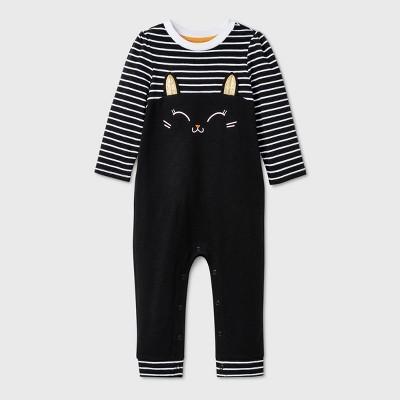 Baby Girls' Striped Cat Romper - Cat & Jack™ Heather Black 0-3M