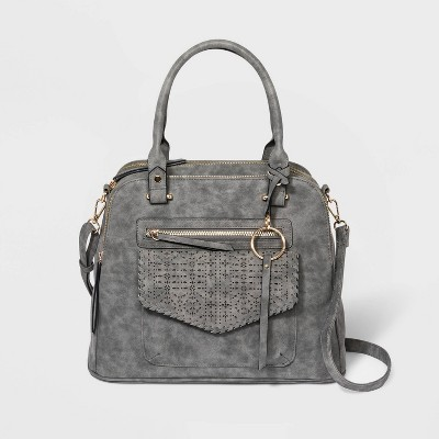 VR NYC Zip Closure Mosaic Design Laser Cut Satchel Handbag - Gray