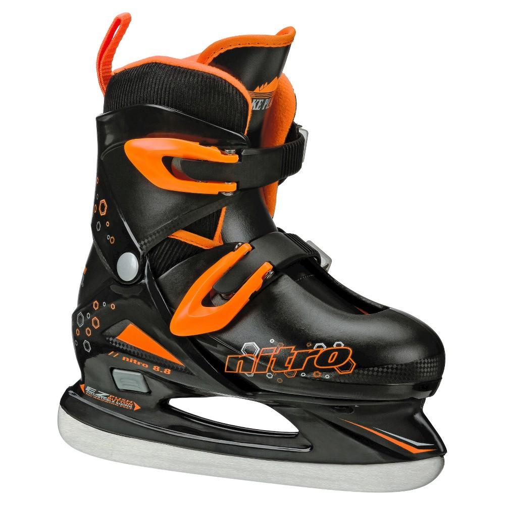 Lake Placid Nitro 8.8 Boys' Adjustable Figure Ice Skate - Black (Medium), Black Orange