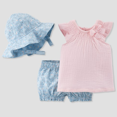 Baby Girls' 3pc Gauze Top, Floral Shorts and Hat Set - Just One You® made by carter's Rose - image 1 of 1