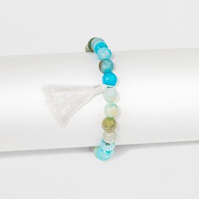 """Womens Silver Plated Blue Fancy Jasper with White Tassel Bracelet - Silver (8"""")"""