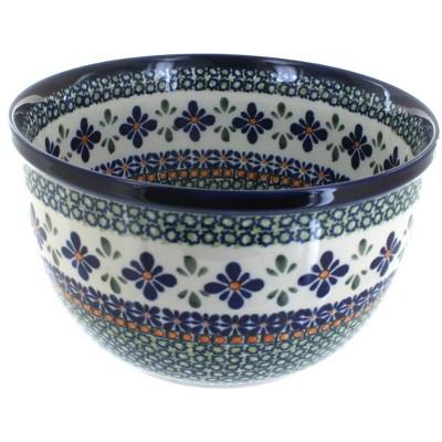 Blue Rose Polish Pottery Mosaic Flower Medium Mixing Bowl