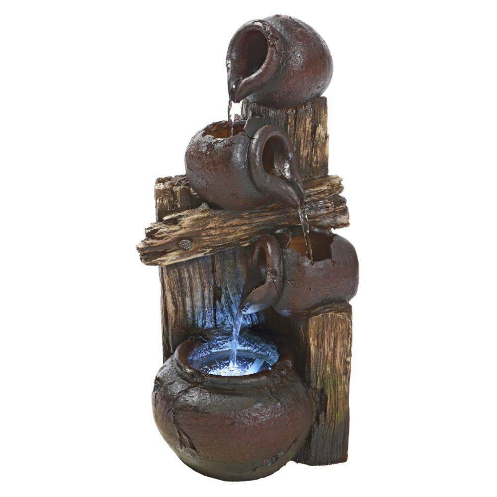 Image of Casa Chianti Cascading Urns Illuminated Garden Fountain - Acorn Hollow