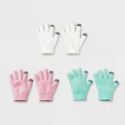 Girls' 3 pk Gloves - Cat & Jack™ Ivory/Pink/Green One Size