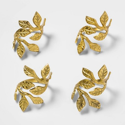 4pk Brass Leaves Napkin Rings Gold - Threshold™