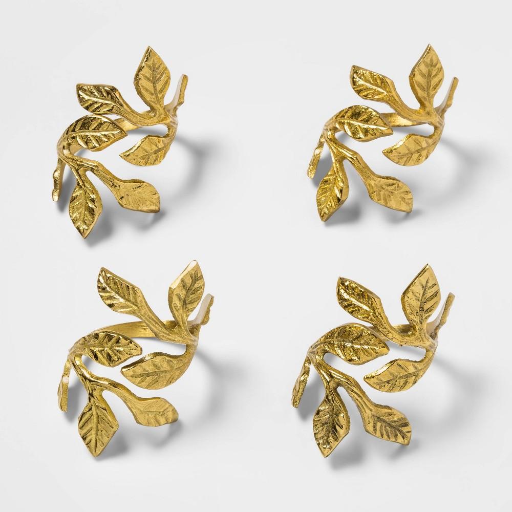 Image of 4pk Brass Leaves Napkin Rings Gold - Threshold