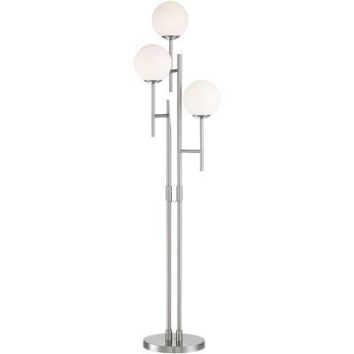 Possini Euro Design Mid Century Modern Floor Lamp 3 Light LED Brushed Nickel Frosted White Glass Orb for Living Room Bedroom