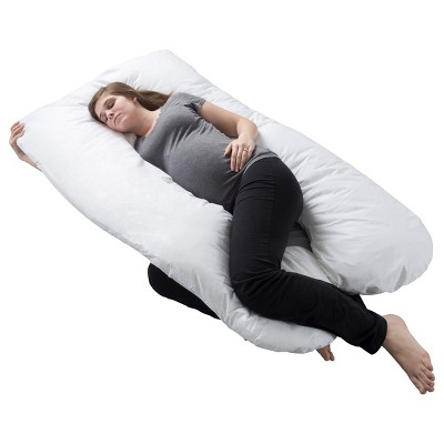 """Hastings Home U-Shaped Full-Body Support Pregnancy Pillow with Zippered Cover - White, 60"""" x 38"""""""
