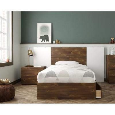 4pc Rubicon Platform Bed Set Truffle/White - Nexera
