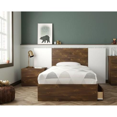 Twin Ribicon Platform Bed Set Truffle/White - Nexera