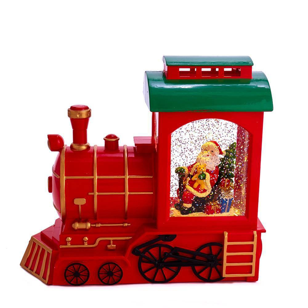 "Image of ""9.6"""" Kurt Adler Battery Operated Train and Santa Motion Table Piece Decorative Sculpture"""