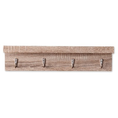 Liza Wall Shelf with Hooks - Dark Oak Finish
