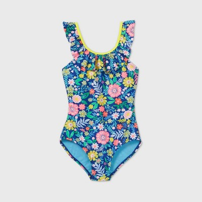 Girls' Floral Print Ruffle Sleeve One Piece Swimsuit - Cat & Jack™ Blue