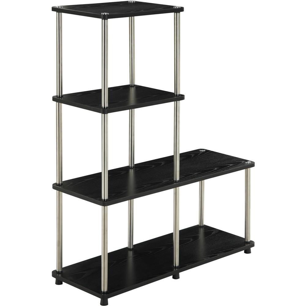 41 75 34 Multi Shelf L Bookshelf Black Breighton Home
