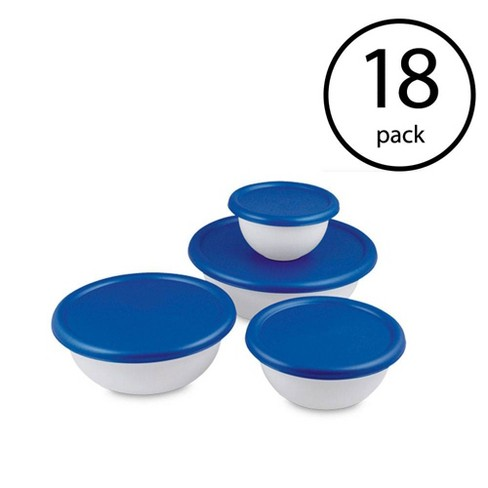 Sterilite 8 Piece Plastic Kitchen Covered Bowl Mixing Set with Lids (18 Pack) - image 1 of 4