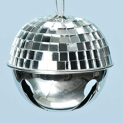 "Roman 2.5"" Winter Ice Disco Ball Jingle Bell Christmas Ornament - Silver"
