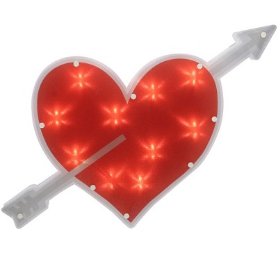 """Northlight 18"""" Lighted Red Heart with Arrow Valentine's Day Window Silhouette Decoration"""
