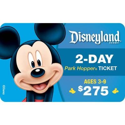 Disneyland  Resort 2-Day Park Hopper, Ticket Ages 3-9 $275 (Email Delivery)
