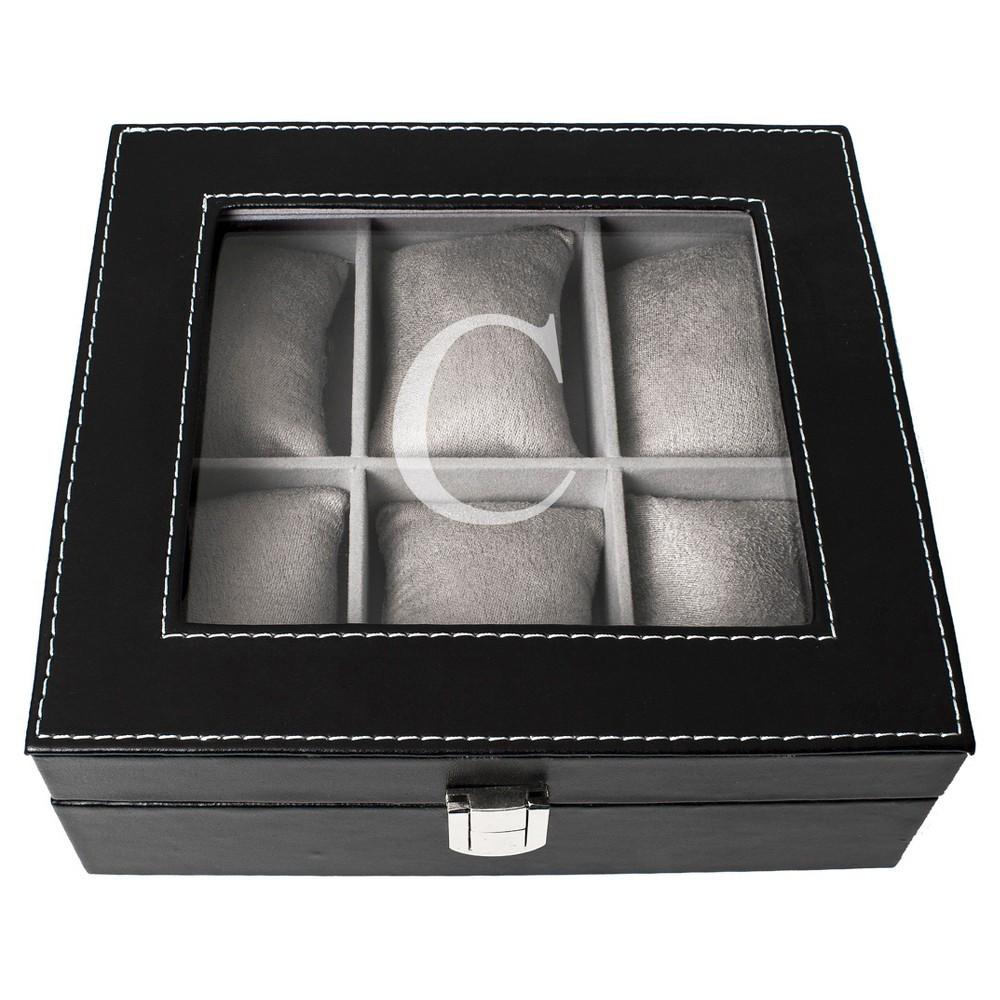 Monogram Leatherette Groomsmen Gift Watch Jewelry Box - C, Black