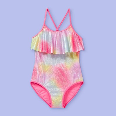 Girls' Foil Rainbow Flounce Top One Piece Swimsuit - More Than Magic™