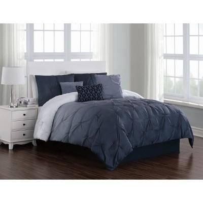 King 7pc Bergen Pintuck Comforter Set Blue - Addison Home