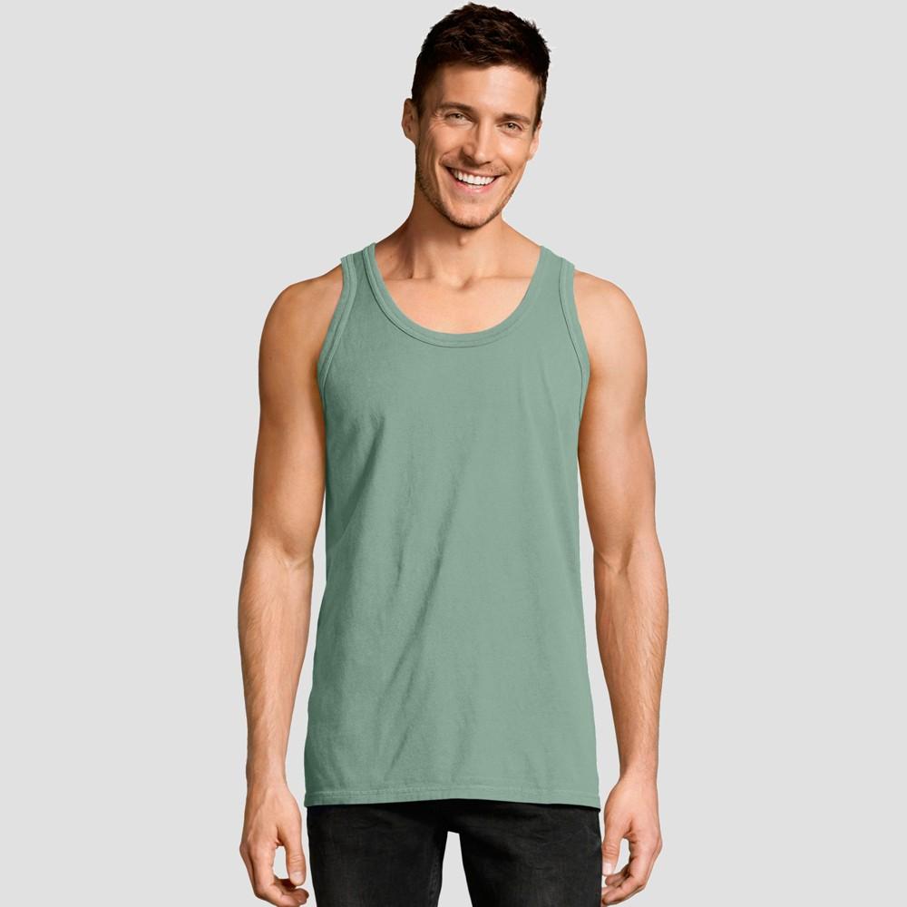 Hanes Mens Big & Tall 1901 Garment Dyed Tank Top - Green 3XL Cheap