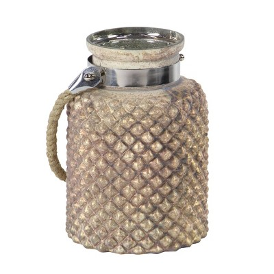 Glass/Steel Jar Candle Lantern with Rope Handle - Olivia & May