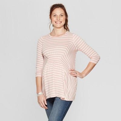 Maternity Striped Long Sleeve Cozy Smocked T-Shirt - Isabel Maternity by Ingrid & Isabel™ Mauve/White XXL