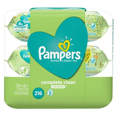 Pampers Wipes Complete Clean Unscented (216ct)