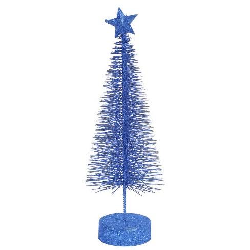 "Vickerman Pack of 2 Lavish Blue Glitter Sisal Artificial Table Top Christmas Trees 8"" - image 1 of 1"