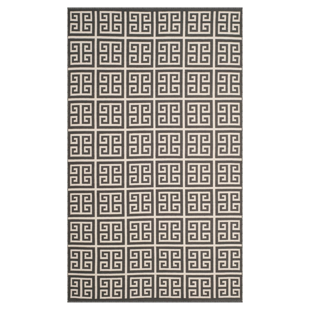 Dark Gray/Ivory Geometric Woven Area Rug 5'X8' - Safavieh